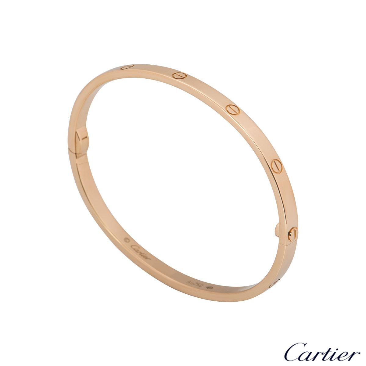 Cartier Rose Gold Plain Love Bracelet SM Size 16 B6047316